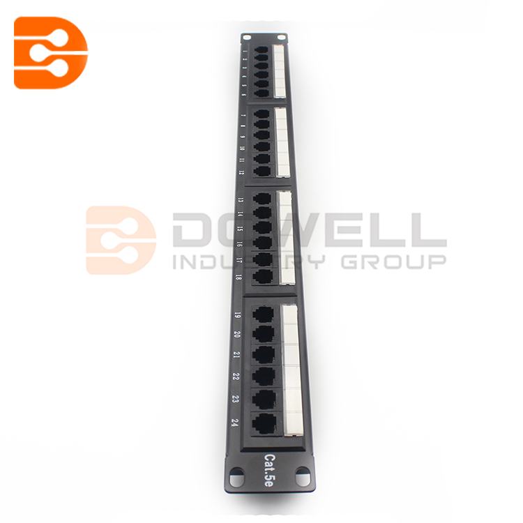 1u RJ45 Through Coupler Excel 24 Port Cat5e Patch Panel
