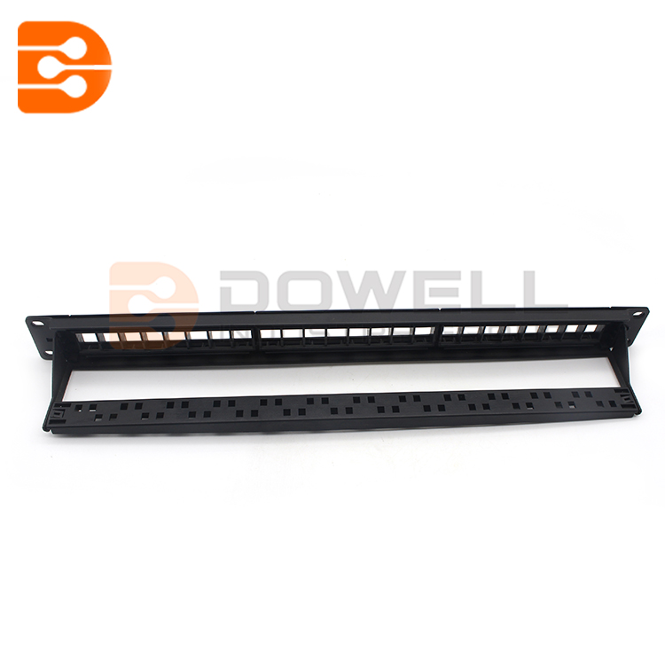 CAT6A UTP Blank Patch Panel With 24 Ports And Staggered And Rear Cable Management Bar In 1 RMS